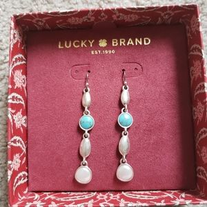 Lucky Brand Silver tone turquoise & pearl earrings